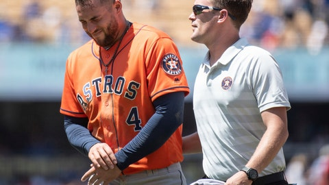 <p>               Houston Astros' George Springer, left, exits with a trainer after getting injured whiletrying to steal second base during the third inning of a baseball game against the Los Angeles Dodgers in Los Angeles, Sunday, Aug. 5, 2018. (AP Photo/Kyusung Gong)             </p>