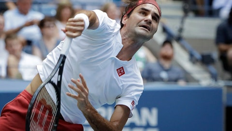 <p>               Roger Federer, of Switzerland, serves to Benoit Paire, of France, during the second round of the U.S. Open tennis tournament, Thursday, Aug. 30, 2018, in New York. (AP Photo/Kevin Hagen)             </p>