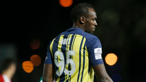 <p>               Usain Bolt participates in a friendly trial match between the Central Coast Mariners and the Central Coast Select in Gosford, Australia, Friday, Aug. 31, 2018. Bolt, who holds the world records for the 100- and 200-meter sprints and is an eight-time Olympic gold medalist, is hoping to earn a contract with the Mariners for the 2018-19 season in Australia's top-flight competition. (AP Photo/Steve Christo)             </p>