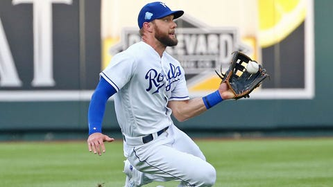 Aug 6, 2018; Kansas City, MO, USA; Kansas City Royals left fielder Alex Gordon (4) catches a line drive in the first inning against the Chicago Cubs at Kauffman Stadium. Mandatory Credit: Jay Biggerstaff-USA TODAY Sports