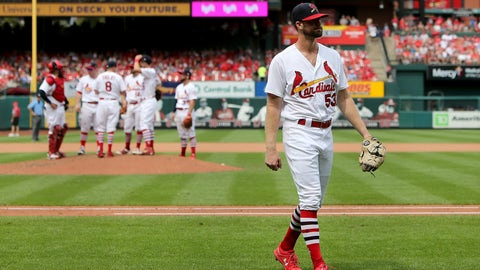Aug 19, 2018; St. Louis, MO, USA; St. Louis Cardinals starting pitcher John Gant (53) walks to the dugout after being relieved during the fifth inning against the Milwaukee Brewers at Busch Stadium. Mandatory Credit: Scott Kane-USA TODAY Sports