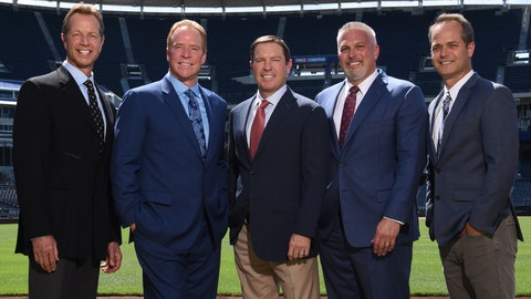 Steve Physioc, Rex Hudler, Jeff Montgomery, Joel Goldberg and Ryan Lefebvre.
