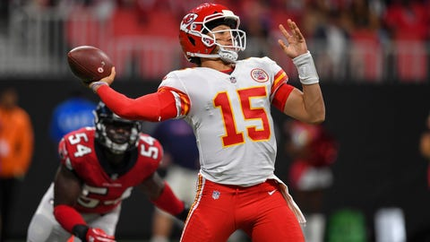 Aug 17, 2018; Atlanta, GA, USA; Kansas City Chiefs quarterback Patrick Mahomes (15) passes against the Atlanta Falcons during the first half at Mercedes-Benz Stadium. Mandatory Credit: Dale Zanine-USA TODAY Sports