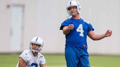 Jun 12, 2018; Indianapolis, IN, USA; Indianapolis Colts place kicker Adam Vinatieri (4) watches a made field goal with punter Rigoberto Sanchez (2) during mini camp at Indiana Farm Bureau Football Center. Mandatory Credit: Trevor Ruszkowski-USA TODAY Sports