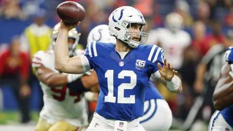 Aug 25, 2018; Indianapolis, IN, USA;  Indianapolis Colts quarterback Andrew Luck (12) throws a pass against the San Francisco 49ers during the first quarter at Lucas Oil Stadium. Mandatory Credit: Brian Spurlock-USA TODAY Sports