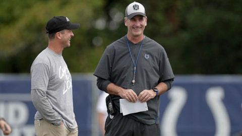 Baltimore Ravens head coach John Harbaugh, left, talks with Indianapolis Colts head coach Frank Reich during a joint practice at the Colts NFL football training camp in Westfield, Ind., Saturday, Aug. 18, 2018. (AP Photo/Michael Conroy)