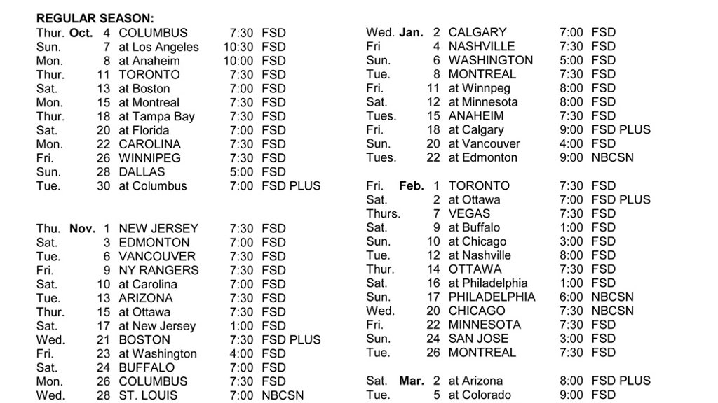 graphic about Detroit Red Wings Printable Schedule known as Crimson Wings telecast agenda FOX Sports activities