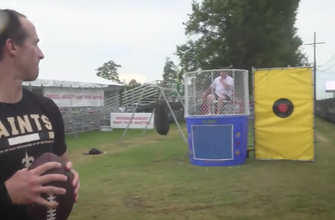 WATCH: Drew Brees, Saints QBs take on the Dunk Tank Challenge