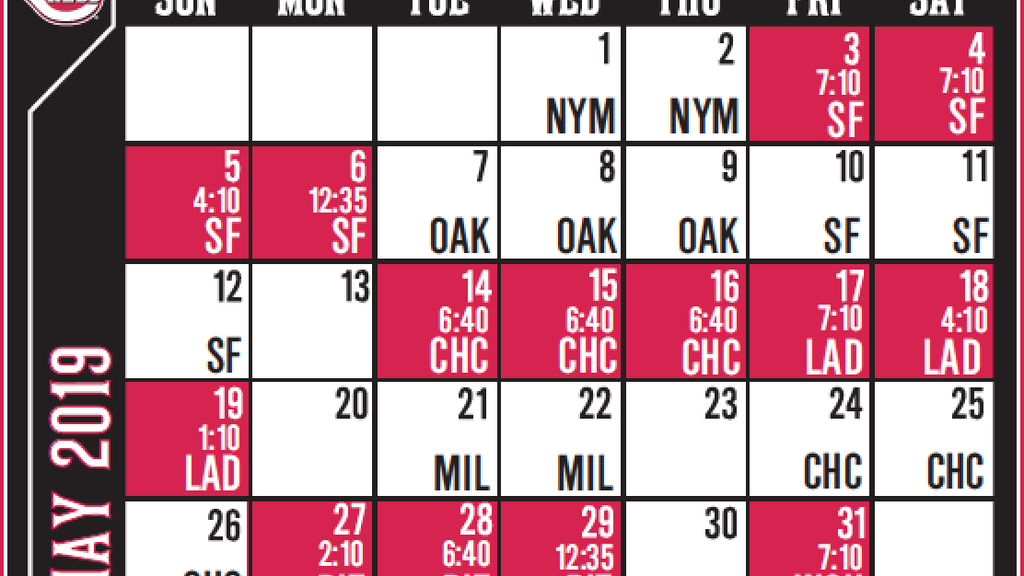 graphic relating to Cincinnati Reds Printable Schedule named Cincinnati Reds announce 2019 month-to-month time routine