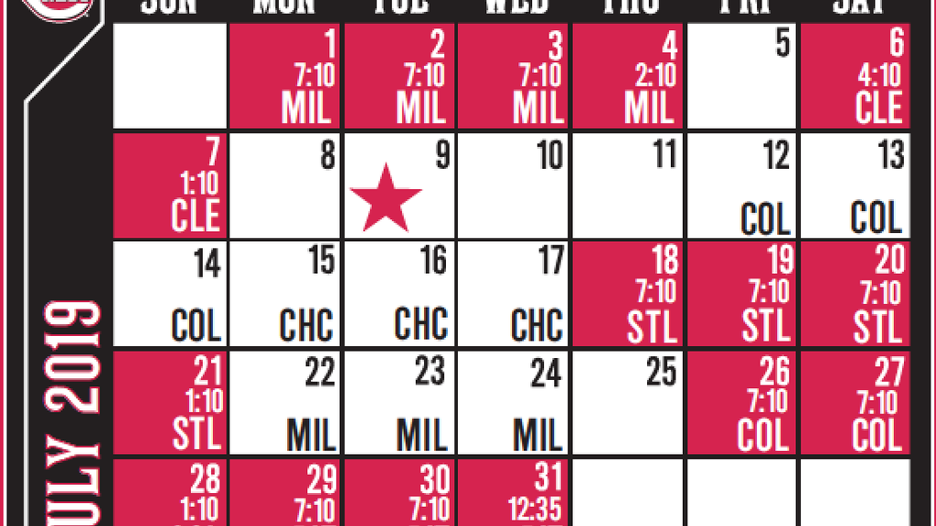 picture relating to Texas Rangers Printable Schedule named Cincinnati Reds announce 2019 month to month time timetable