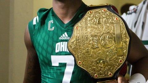 <p>               In this Sept. 1 2018, photo provided by the Ohio Athletics Department, Ohio safety Javon Hagen carries the Turnover Belt in Athens, Ohio. College football sidelines across the country are featuring everything from wrestling-style robes to boxing gloves as teams try to mimic the success Miami had last season with its turnover chain. (Mijana Mazur, Ohio Athletics Department via AP)             </p>
