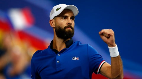 <p>               France's Benoit Paire reacts as he plays Spain's Pablo Carreno Busta during the Davis Cup semifinals France against Spain, Friday, Sept.14, 2018 in Lille, northern France. (AP Photo/Michel Spingler)             </p>