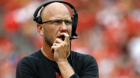 <p>               FILE - In this Sept. 1, 2018, file photo, Maryland interim head coach Matt Canada walks on the sideline in the first half of an NCAA college football game against Texas in Landover, Md. Canada's success as Maryland interim football coach can be attributed in part to his prowess as an offensive coordinator. (AP Photo/Patrick Semansky, File)             </p>