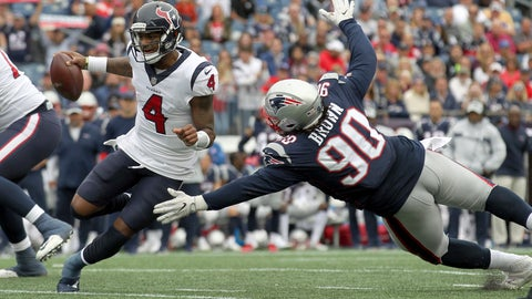 <p>               New England Patriots defensive tackle Malcom Brown (90) pursues Houston Texans quarterback Deshaun Watson (4) during the second half of an NFL football game, Sunday, Sept. 9, 2018, in Foxborough, Mass. (AP Photo/Stew Milne)             </p>
