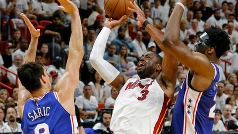 <p>               FILE - In this Saturday, April 21, 2018 file photo, Miami Heat guard Dwyane Wade (3) shoots and scores late in the fourth quarter as Philadelphia 76ers forward Dario Saric (9) and Joel Embiid (21) defend in Game 4 of a first-round NBA basketball playoff seriesin Miami. Wade is coming back to the Miami Heat, announcing Sunday, Sept. 16, 2018 that he's returning for a 16th and final NBA season. He basically spent the entirety of the last four months weighing his options, and retirement was an extremely real possibility in his mind. (AP Photo/Joe Skipper, File)             </p>