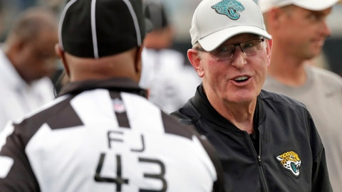 <p>               FILE - In this Thursday, Aug. 9, 2018 file photo, Tom Coughlin, right, Jacksonville Jaguars executive vice president of football operations greets field judge Terry Brown (43) before an NFL preseason football game between the Jacksonville Jaguars and the New Orleans Saints in Jacksonville, Fla. Tom Coughlin wants no part of the spotlight this week. He declined several interview requests as Jacksonville prepares to open the season against Coughlin's former team, the New York Giants. Coughlin is entering his second year as Jacksonville's executive vice president of football operations, working mostly behind the scenes. Coughlin's sure to get extra attention Sunday when he faces the Giants for the first time since his resignation as head coach in January 2016. (AP Photo/John Raoux, File)             </p>