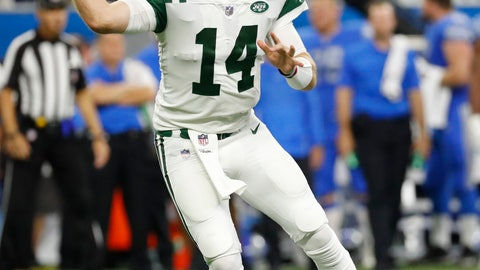 <p>               New York Jets quarterback Sam Darnold (14) throws against the Detroit Lions in the first half of an NFL football game in Detroit, Monday, Sept. 10, 2018. (AP Photo/Rick Osentoski)             </p>