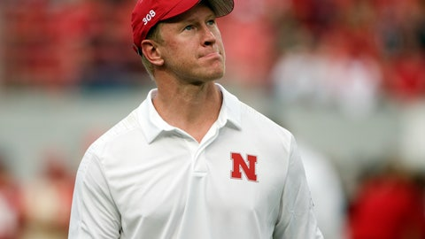 <p>               Nebraska head coach Scott Frost looks at the overcast sky before an NCAA college football game against Akron in Lincoln, Neb., Saturday, Sept. 1, 2018. (AP Photo/Nati Harnik)             </p>