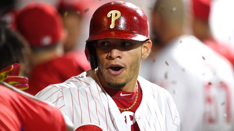 <p>               Philadelphia Phillies' Cesar Hernandez celebrates in the dugout after hitting a three-run home run off Miami Marlins' Drew Rucinski during the fifth inning of a baseball game, Saturday, Sept. 15, 2018, in Philadelphia. (AP Photo/Derik Hamilton)             </p>