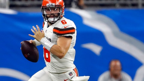 <p>               FILE - In this Aug. 30, 2018, file photo, Cleveland Browns quarterback Baker Mayfield scrambles during the first half of an NFL football preseason game against the Detroit Lions in Detroit. Mayfield is humbled by the praise he received from Saints quarterback Drew Brees, who thinks Cleveland's rookie is destined for stardom. (AP Photo/Paul Sancya, File)             </p>