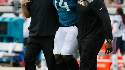 <p>               FILE - In this Sept. 16, 2018, file photo, Jacksonville Jaguars offensive tackle Cam Robinson (74) is helped off the field after he was injured during the first half of an NFL football game against the New England Patriots, in Jacksonville, Fla. The Jaguars will be without left tackle Cam Robinson for the rest of the season because of a knee injury. Coach Doug Marrone and teammates confirmed Monday, Sept. 17, 2018, that Robinson's season is over. (AP Photo/Stephen B. Morton, File)             </p>