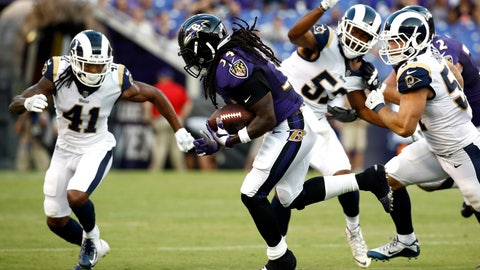 <p>               FILE - In this Aug. 9, 2018, file photo, Baltimore Ravens running back Alex Collins center, carries the ball in the first half of a preseason NFL football game against the Los Angeles Rams, in Baltimore. Collins enters this season looking to gain 1,000 yards, enhance his stature among NFL running backs and help the Ravens reach the postseason for the first time since 2014. These goals are far more ambitious than his singular objective of a year ago, which was to earn a place on Baltimore's 53-man roster.(AP Photo/Patrick Semansky, File)             </p>