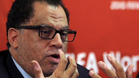 <p>               FILE - In this file photo dated  Friday Jan. 18, 2013, South African sports administrator Danny Jordaan, speaks during the 2010 FIFA World Cup Legacy Trust media conference in Johannesburg, South Africa. The southern African soccer region COSAFA on Saturday Sept. 8, 2018, endorsed South Africa's Danny Jordaan, the 2010 World Cup's head organizer, for a place on the FIFA Council left open when Kwesi Nyantakyi resigned under allegations of corruption.(AP Photo/Themba Hadebe, FILE)             </p>