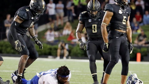 <p>               In this Sept. 1, 2018, photo, Vanderbilt safety LaDarius Wiley (5) walks away after bringing down Middle Tennessee running back Tavares Thomas (21) and knocking his helmet off in the first half of an NCAA college football game in Nashville, Tenn. Wiley was ejected for targeting Thomas on the play, but should return against Nevada Saturday. Vanderbilt smothered a mobile quarterback in their season opener against Middle Tennessee and will face another potent offense in Nevada. (AP Photo/Mark Humphrey)             </p>