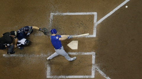 <p>               Chicago Cubs' Daniel Murphy hits a home run during the fourth inning of a baseball game against the Milwaukee Brewers Wednesday, Sept. 5, 2018, in Milwaukee. (AP Photo/Morry Gash)             </p>