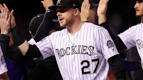 <p>               Colorado Rockies shortstop Trevor Story is congratulated by teammates after the team's baseball game against the San Francisco Giants on Wednesday, Sept. 5, 2018, in Denver. Colorado won 5-3. (AP Photo/David Zalubowski)             </p>