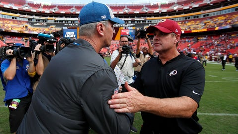 <p>               Washington Redskins head coach Jay Gruden, right, speaks with Indianapolis Colts head coach Frank Reich after an NFL football game, Sunday, Sept. 16, 2018, in Landover, Md. (AP Photo/Alex Brandon)             </p>