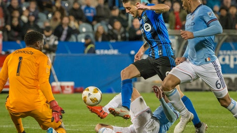 <p>               Montreal Impact's Alejandro Silva charges to the goal through the New York City FC defense during the second half of an MLS soccer match Saturday, Sept. 22, 2018, in Montreal. (Peter McCabe/The Canadian Press via AP)             </p>