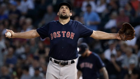 <p>               Boston Red Sox starting pitcher Nathan Eovaldi stretches during the first inning of the team's baseball game against the Chicago White Sox, Friday, Aug. 31, 2018, in Chicago. (AP Photo/Nam Y. Huh)             </p>