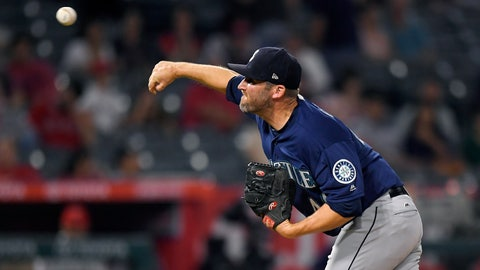 <p>               Seattle Mariners relief pitcher Ryan Cook throws to the plate during the ninth inning of a baseball game against the Los Angeles Angels Friday, Sept. 14, 2018, in Anaheim, Calif. (AP Photo/Mark J. Terrill)             </p>