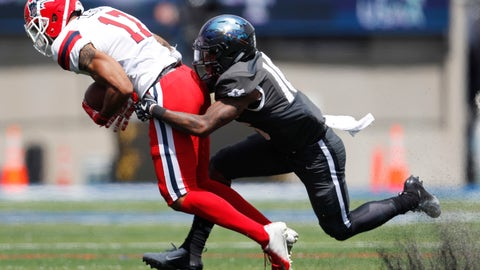 <p>               Air Force defensive back Robert Bullard, right, drags down Stony Brook wide receiver Marshall Ellick after he catches a pass in the first half of an NCAA college football game Saturday, Sept. 1, 2018, at Air Force Academy, Colo. (AP Photo/David Zalubowski)             </p>