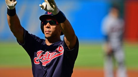 <p>               Cleveland Indians' Michael Brantley celebrates after hitting a solo home run in the first inning of a baseball game against the Detroit Tigers, Saturday, Sept.15, 2018, in Cleveland. (AP Photo/David Dermer)             </p>