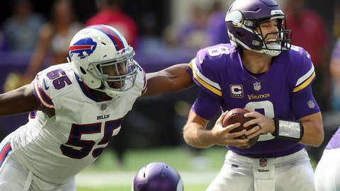<p>               Buffalo Bills defensive end Jerry Hughes (55) pressures Minnesota Vikings quarterback Kirk Cousins (8) during the first half of an NFL football game, Sunday, Sept. 23, 2018, in Minneapolis. (AP Photo/Jim Mone)             </p>