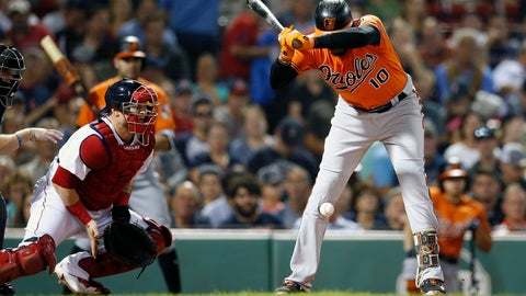 <p>               Baltimore Orioles' Adam Jones (10) is hit by a pitch in front of Boston Red Sox's Christian Vazquez during the first inning of the second game of a baseball doubleheader in Boston, Wednesday, Sept. 26, 2018. (AP Photo/Michael Dwyer)             </p>
