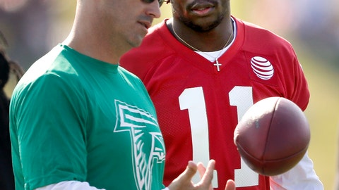 <p>               FILE - In this July 27, 2018, file photo, Atlanta Falcons offensive coordinator Steve Sarkisian, left, talks with wide receiver Julio Jones at an NFL football training camp practice in Flowery Branch, Ga.  It's been eight months since the Atlanta Falcons' season ended on fourth-and-goal at the 2-yard line in Philadelphia. Offensive coordinator Steve Sarkisian says he's moved on from his questionable play call, but there's a better way to change the narrative _ start fast and build a big lead Thursday night against the Eagles. (AP Photo/David Goldman, File)             </p>