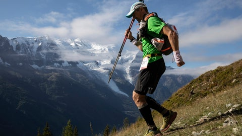 <p>               A competitor walks past Mont Blanc in background at La Flegere path as he competes in the 170km Ultra-Trail of Mont-Blanc (UTMB) race, near Chamonix, French Alps, Sunday, Sept 2, 2018. Set up in a breathtaking setting in the heart of the Mont Blanc massif, this 170-kilometer race with a total vertical gain of 10,000 meters is regarded by many as the world's most difficult ultra-endurance event. (AP Photo/Laurent Cipriani)             </p>