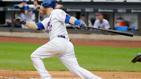 <p>               New York Mets' Todd Frazier follows through on a walkoff home run during the ninth inning of the first baseball game of a doubleheader against the Miami Marlins Thursday, Sept. 13, 2018, in New York. (AP Photo/Frank Franklin II)             </p>