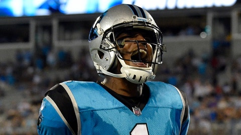 CHARLOTTE, NC - AUGUST 17:  Cam Newton #1 of the Carolina Panthers reacts after a touchdown against the Miami Dolphins in the second quarter during the game at Bank of America Stadium on August 17, 2018 in Charlotte, North Carolina.  (Photo by Grant Halverson/Getty Images)