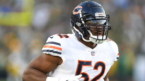 GREEN BAY, WI - SEPTEMBER 09: Khalil Mack #52 of the Chicago Bears warms up before a game against the Green Bay Packers at Lambeau Field on September 9, 2018 in Green Bay, Wisconsin.  (Photo by Stacy Revere/Getty Images)