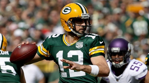 GREEN BAY, WI - SEPTEMBER 16:  Aaron Rodgers #12 of the Green Bay Packers throws a pass during the first quarter of a game against the Minnesota Vikings at Lambeau Field on September 16, 2018 in Green Bay, Wisconsin.  (Photo by Jonathan Daniel/Getty Images)