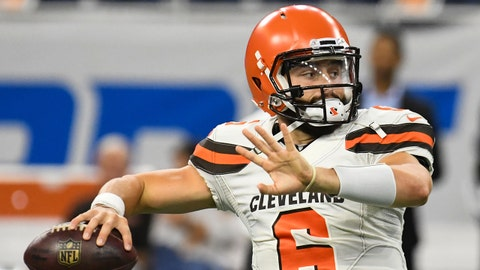 DETROIT, MI - AUGUST 30, 2018: Quarterback Baker Mayfield #6 of the Cleveland Browns throws a pass prior to a preseason game against the Detroit Lions on August 30, 2018 at Ford Field in Detroit, Michigan. Cleveland won 35-16. (Photo by: 2018 Nick Cammett/Diamond Images/Getty Images)