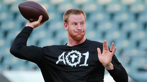 PHILADELPHIA, PA - SEPTEMBER 06:  Carson Wentz #11 of the Philadelphia Eagles warms up before the game against the Atlanta Falcons at Lincoln Financial Field on September 6, 2018 in Philadelphia, Pennsylvania.  (Photo by Brett Carlsen/Getty Images)