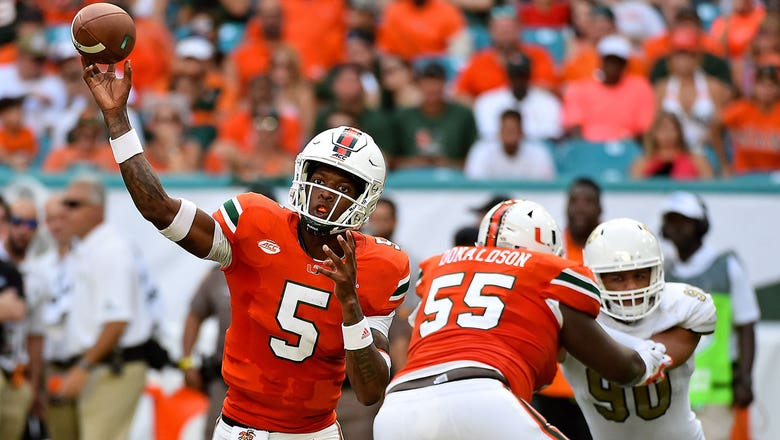 Miami quarterback N'Kosi Perry comes off bench to throw 3 TDs, leads Hurricanes past FIU 31-17