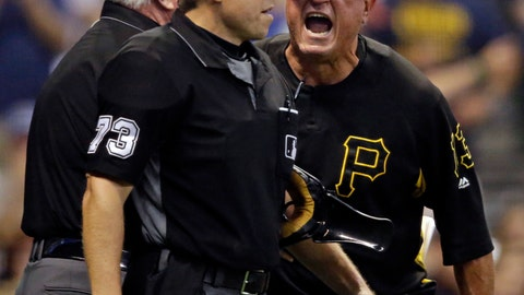 <p>               Pittsburg Pirates manager Clint Hurdle, right, argues with home plate umpire Tripp Gibson (73) after getting thrown out of the game against the Milwaukee Brewers during the sixth inning of a baseball game, Saturday, Sept. 15, 2018, in Milwaukee. (AP Photo/Jeffrey Phelps)             </p>