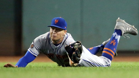 <p>               New York Mets right fielder Brandon Nimmo makes a diving catch of a fly ball by Boston Red Sox's Mookie Betts in the fifth inning of a baseball game at Fenway Park, Friday, Sept. 14, 2018, in Boston. (AP Photo/Elise Amendola)             </p>