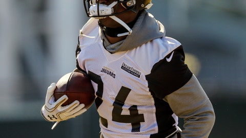 <p>               FILE - In this Jan. 19, 2018 file photo, Jacksonville Jaguars running back T.J. Yeldon (24) runs with the ball during an NFL football practice in Jacksonville, Fla. Yeldon hasn't started a game in nearly two years. It was a frustrating stretch that forced him to work harder and be more patient. He always felt like he would get another shot. He didn't expect it to be this week. But with Leonard Fournette missing practice because of a strained right hamstring, Yeldon is getting the majority of practice repetitions and preparing to carry the load Sunday against the New England Patriots. (AP Photo/Gary McCullough)             </p>